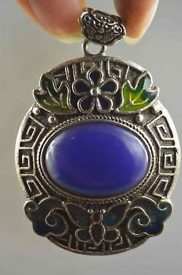 China Collection Handwork Old Miao Silver Carve Flower Inlay Agate Lucky Pendant