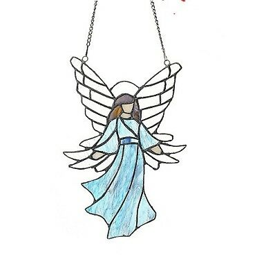 "iffany-Style 12"" Guardian Angel Stained Glass Window Panel w/ 21"" Hanging Chain"