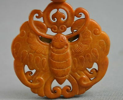 China Collectable Handwork Old Jade Carve Wonderful Butterfly Royal Rare Pendant
