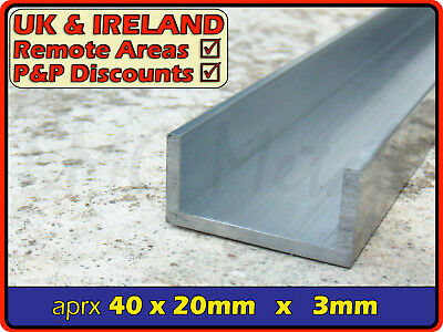 "Aluminium Channel (C U section, gutter, profile,alloy) | 40x20 mm / 1.5"" x 0.75"""