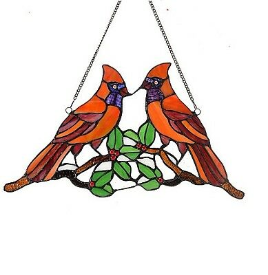 "Tiffany-Style 17"" Northern Cardinal Stained Glass Window Panel w/ Hanging Chain"