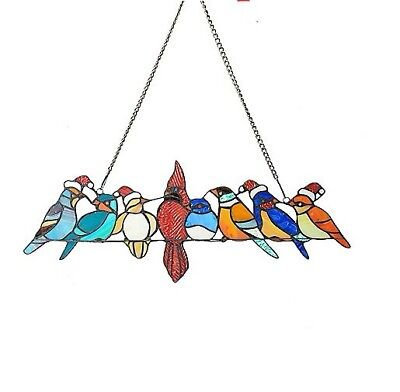 "Tiffany-Style 23"" Birds on a Wire Christmas Edition Stained Glass Window Panel w"