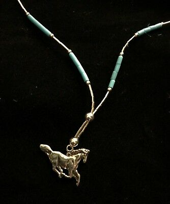 """Sterling Silver 18"""" running horse liquid silver turquoise necklace heishi chain"""