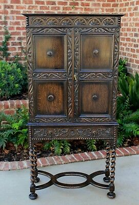 Antique English Oak Jacobean Tudor BARLEY TWIST Cabinet Bookcase Bar w Drawer