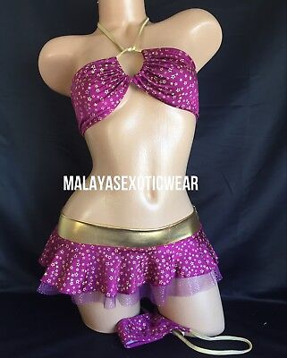Exotic Dancer Stripper Sexy Sparkle Skirt Thong Dancewear Set