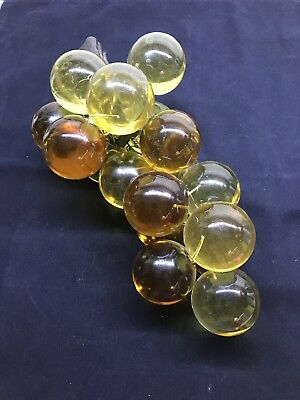 Vtg Mid Century Lucite Acrylic Grape Cluster Large Amber Driftwood