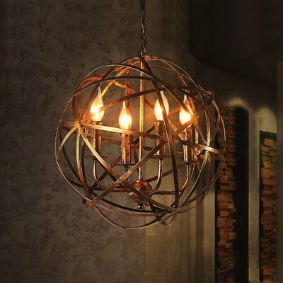 NIUYAO Industrial Vintage Rustic Wrought Iron Style Aged Brass Candle Chandelier