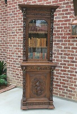 Antique French Oak Black Forest Harvest HUNT Cabinet Bookcase SLIM Width 1 of 2