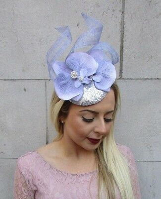 Lilac Grey Silver Orchid Flower Fascinator Sequin Races Pillbox Hat Ascot 5018