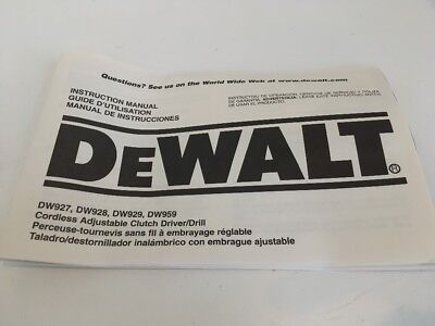 Dewalt Instruction Owners Manual For Cordless Drills