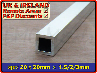 Aluminium Square Tube (box section,profile,pipe,tubing,alloy,alu) | 19mm ⫽ 20mm