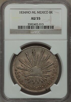 1834 Mo ML Mexico Cap & Rays 8 Reales NGC AU55 Nice Condition Scarce