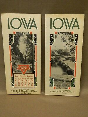 2 Vintage 1930s Conoco Oil Iowa Travel Brochures Points of Interest State Parks