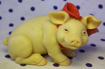 """Pig Figurine 2"""" Red Pink Bow Hog Sow Farm Collectible Piglet Resin Statue Decor"""