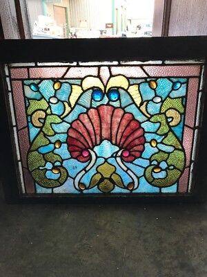 Sg1466 Antique Stainglass Jeweled Schll Design Window 21.5 X 28.5