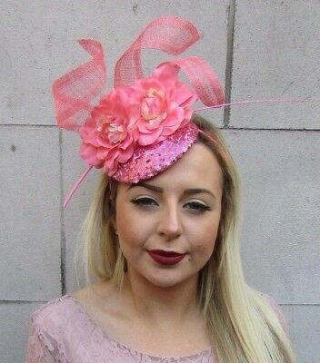 Coral Pink Sequin Feather Flower Pillbox Hat Fascinator Races Ascot Sinamay 5020