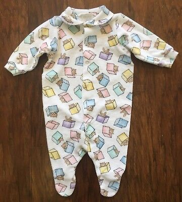 164989398 Vintage Carter's Terry Cloth Baby Sleeper Pastel Animal Print 3-6m EUC
