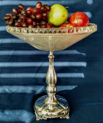 1880's Art Nouveau Crystal Glass Compote/Tazza, or a Fruit Dish on Silver Stand