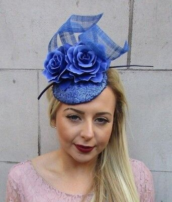 Royal Blue Sequin Rose Feather Flower Fascinator Pillbox Hat Races Ascot 5021