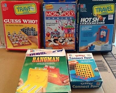 Lot of 5 vintage Milton Bradley Parker Brothers Travel Games: Guess Who Hangman