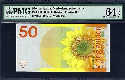Netherlands 1982 P-96 PMG Choice UNC 64 EPQ 50 Gulden *Sunflower*