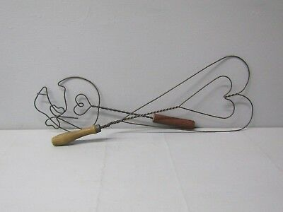 Rug Beater Twisted Wire, Heart, Goose, Wood Handle, Antique Primitive~2 Lot