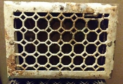 Antique cast iron honey comb heat vent grate. 13 3/4in x 9 3/4in