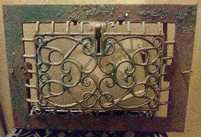 Antique cast iron victorian style heat vent grate 13 3/4in x 9 3/4in