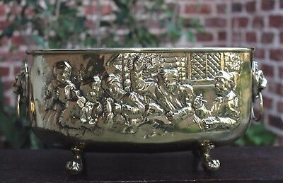 Antique English Brass Oval Planter Flower Pot Jardiniere Pub Scene Lion Paw Feet