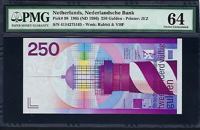 Netherlands 1985 (ND 1986) P-98 PMG Choice UNC 64 250 Gulden *Lighthouse*