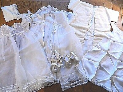 Vintage Baby Christening Set  Slip Dress OverDress Wool Coat  Hat  2 Pair Shoes