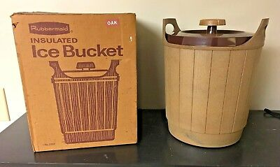 "Vintage VTG Rubbermaid Insulated Ice Bucket Woodbine Collection ""Oak"" with Box"