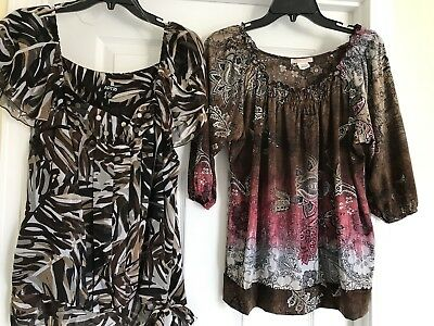 Lot of 2 Apt 9 Blouse Brown PXL short sleeve plus Brown red white paisley EUC!