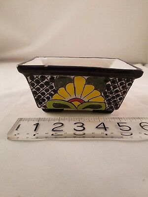 Talavera Pot Planter Floral rectangular Pottery Mexico Handmade