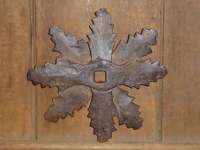 18th C OLD FORGED WROUGHT IRON ARCHITECTURAL SUPPORT BARN BUILDING STAR FOLK ART