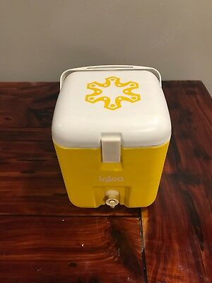 70s Vintage Igloo Cooler Water Sports Camping Yellow 1 Gallon Push Button Spout
