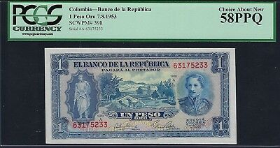 Colombia 1953 P-398 PCGS Choice About New UNC 58 PPQ 1 Peso Oro
