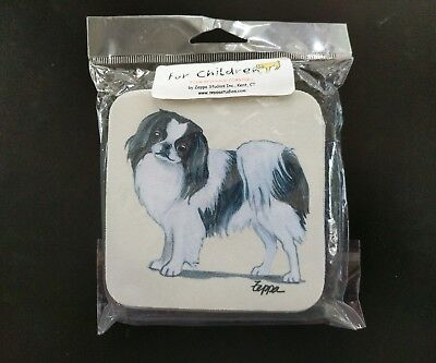 NEW~ JAPANESE CHIN Fur Children 4 Beverage Coasters Set