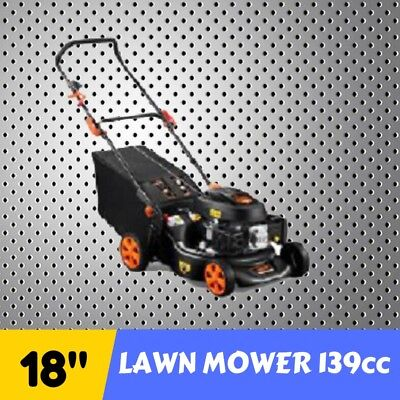 "NEW LAWN MOWER 18"" 139cc PUSH Lawnmower 4 STROKE METAL DECK Petrol Engine"