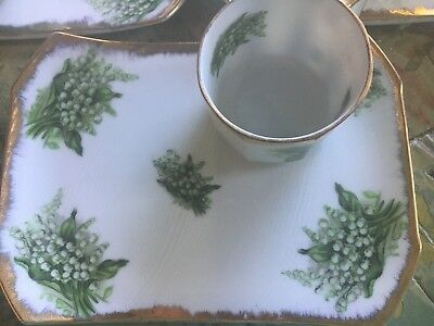 Napco Lily of the Valley Hand-Painted Cups with Matching Snack Plates - 3 prs