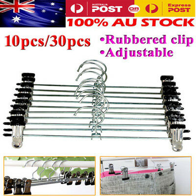 30/10x Adjustable Metal Clip Trouser Coat Pants Bulk Clothes Hangers Coathangers