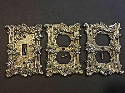 3 Vintage American Tack Brass Roses Outlet & Switch Plate Covers W/ Screws