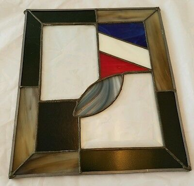 "Vtg Stained Glass Leaded Window Hanging Square Design 11.5"" x 10"" Art Work"