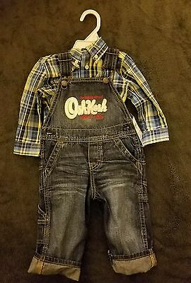 12 month Boy OshKosh BGosh Jean Overalls and Dress Shirt Outfit NWT