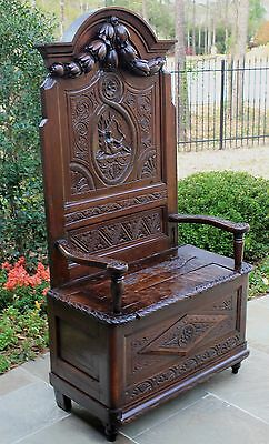 Antique English GOTHIC Oak Hall Bench Settee Throne Chair Hunter Stag Mid 19th C