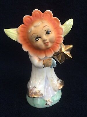 VINTAGE WHIMSICAL FAIRY PIXIE Flower Face IMP FIGURINE MADE IN OCCUPIED JAPAN