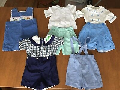 8 Boys Lavender Blue Monday's Child Anavini Smock Boutique Church Clothes 3 T