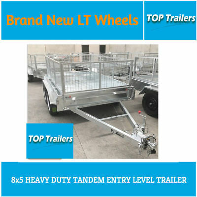 8x5 tandem heavy duty trailer new wheels galvanised 600 cage fully weld 10x5