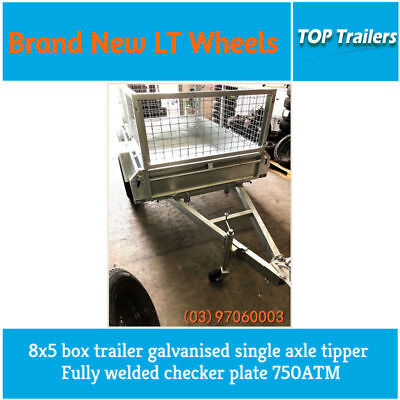 8x5 box trailer galvanised single axle tipper fully welded checker plate 750ATM