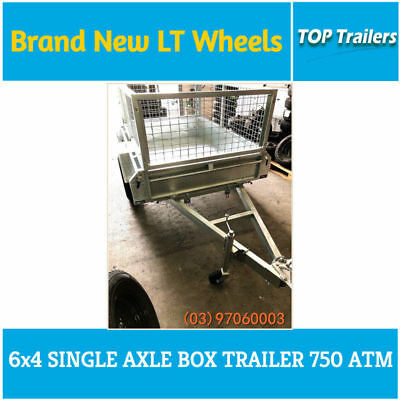 6x4 galvanised box trailer 750ATM single axle hot dip fully weld checker plate